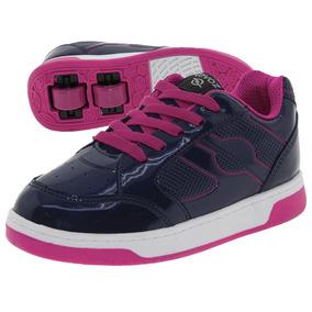 Tênis Infantil Feminino Com Rodinha Azul/pink Revoz - 511001
