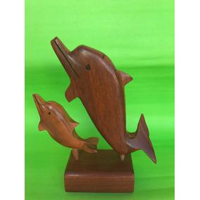 Escultura De Madera Maciza Delfines Garzas Centro De Mesa