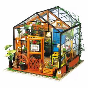 Casa De Madera De Muebles En Miniatura Con Luz Led Decoracio