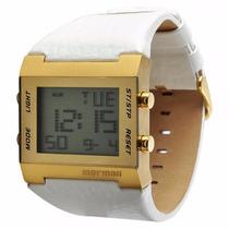 Relógio Mormaii De Couro Branco C/ Dourado Digital Y21461/0b
