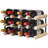 Mini Adega Rack Porta 12 Garrafas De Vinho Madeira Pinho