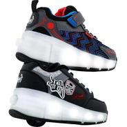 Zapatillas Footy Con Ruedas Roller Luces Led Recargables Usb