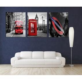 Londres Rojo Cuadro Bastidor 40x50cm C/u Exelente
