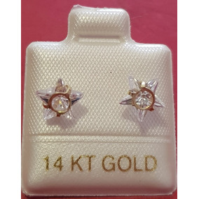 Hermosos Broqueles Aretes Estrella Piedra Blanca Oro 14k