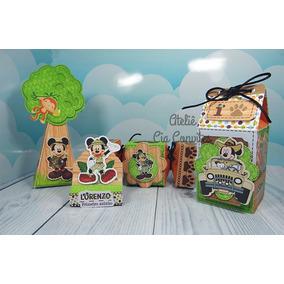 Lembrancinha Personalizada Mickey Safari - 40 Caixas