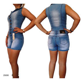 Macaquinho Jeans Feminino Est Pitbul Macação Modela Bumbum