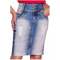 Saia Jeans Moda Evangelica Titanium Ttn 22883