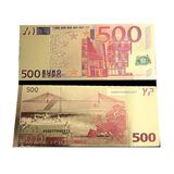 Billete De 500 Euros Enchapado En Oro De 24 Kilates. Jp