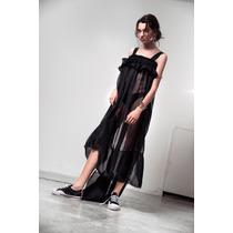 Vestido Princesa Largo Negro De Voile Con Volado Soifer