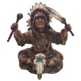 Índio Pajé Xamânico Cocar Resina Importado Tribo Penacho