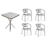 Kit Com Mesa Quadrada Alumínio 80cm E 4 Cadeiras De Alumínio