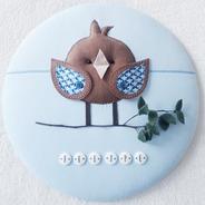 Enfeite Porta Maternidade Passarinho Azul 35cm Nome Simples