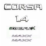 Kit Emblemas Adesivos Corsa 1.4 Maxx Econoflex 2008 Até 2010