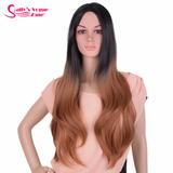 Peruca Longa Ombré Hair Castanho Imitação Couro- Pronta Entr