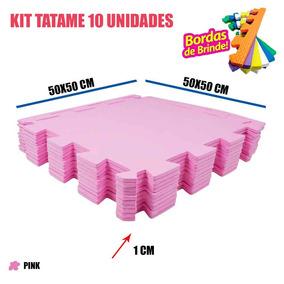 Kit 10 Tatames Eva Decoração Quarto Meninas Pink 50x50x01cm
