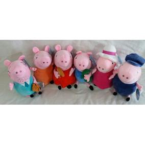 Família Peppa Pig 6 Peças Todos C/ 30 Cm Ideal P/decorar