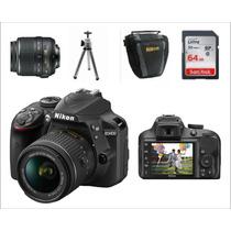 Câmera Nikon D3400 Kit+lente 18-55mm+64gb+bolsa+tripé