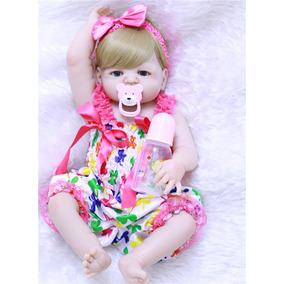 Boneca Reborn Olhos Azuis Pode Dar Banho Victoria Frt Grátis