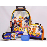 Kit Mochila Infantil Naruto Tamanho G Rodinha Frete Grátis