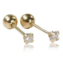 Aretes D Broquel En Oro 18k Con Diamante 0.07cts Recto Bebe