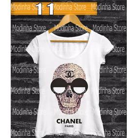 Babylook Caveira Chanel Estampa Feminina Moda Blusa Tshirt