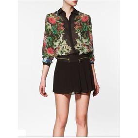 Camisa De Chifon Floral- Pronta Entrega