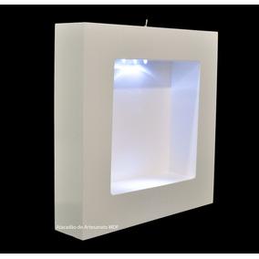 Nicho Quadrado Bco C Led E C Vidro 30x30x6 Porta Maternidade