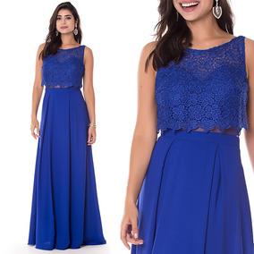 Vestido Longo Festa Madrinha Casamento Azul Royal Qualidade