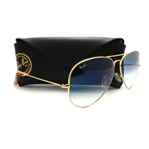 Óculos Ray-ban Rb3025 Aviador Dourado Azul Degrade Original