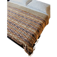 Cobertor Matrimonial Textura Animal Print Con Borrega Grueso