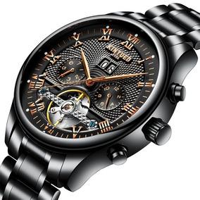 Elegante Reloj Original Mecánico Automático Skeleton Negro