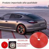 Aro Protetor Roda Borda Borracha Moldada Vermelho Kit 4r 8m