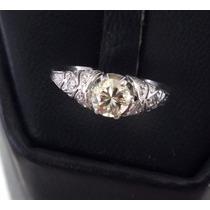 Solitário De Diamantes Ouro Branco 18k Anel Brilhantes J5033