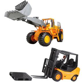 Empilhadeira Brinquedo E Carregadeira Controle Remoto Kit 2