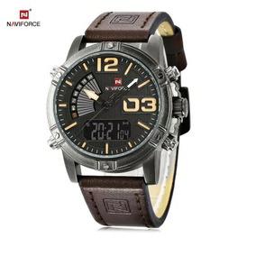 Relógio Naviforce 9095 Pulseira De Couro Original + Frete Gr