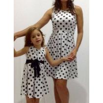 Vestido Infantil Petit Poa Branco Bolinhas Pretas