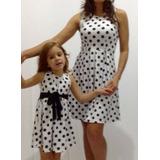Kit Vestido Infantil +adulto Poa Branco Bolinhas Pretas