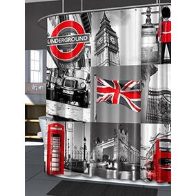Cortina De Ducha Splash Inicio Londres, 70 X 72 Envío Gratis