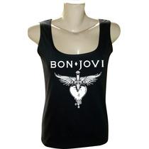 Camiseta Blusa Regata Feminina Rock Bandas Bon Jovi