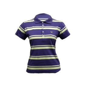 Camiseta Gola Polo Feminina Listrada Roxa - Magus