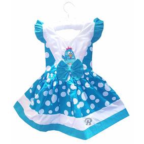 Vestido Galinha Pintadinha Casual Bebe Bolinhas Azul Menina