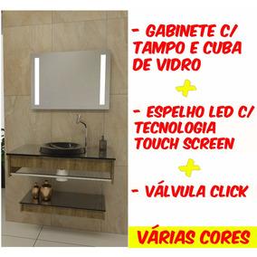 Gabinete Banheiro 70cm Tampo E Cuba De Vidro + Espelho Led