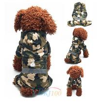 Capa Chuva Camuflada Capuz Roupas Acessórios Cães Tamanho M