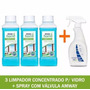 Kit 3 Limpa Vidro Concentrado + 1 Frasco Spray Amway