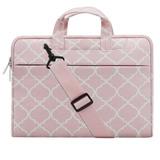 Mosiso Quatrefoil Style Canvas Fabric Laptop Sleeve C -rosa