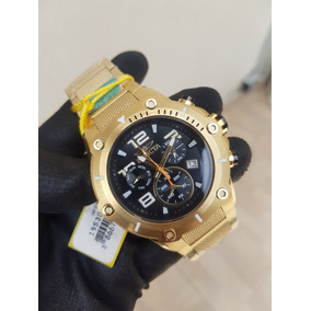 a9bca13858e Relógio Invicta Banhado A Ouro 18k Dourado Mostrador Preto ...