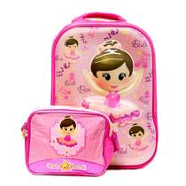 Kit 1 Mochila Infantil 1 Lancheira Bailarina Rosa P/ Menina