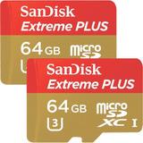 2 Memorias Para Gopro -sandisk Plus 64gb Microsdxc Uhs-i
