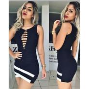 Vestido Curto Moda Blogueira Balada Decote Longo Grade Noite