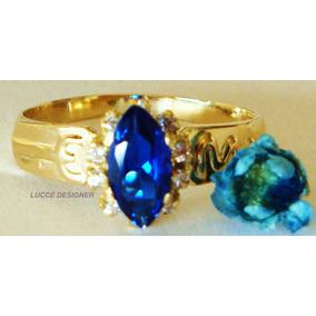 Anel Formatura/grau Ouro 18k, Safira Natural E 10 Diamantes.